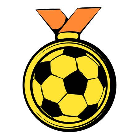 Gold soccer medal icon, icon cartoon