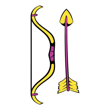 Bow and arrow icon, icon cartoon