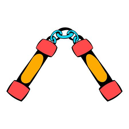 Nunchaku weapon icon, icon cartoon