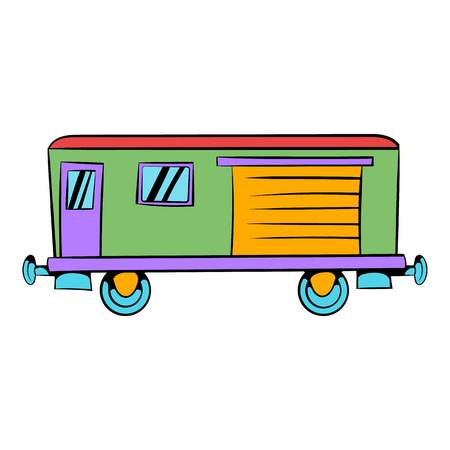 Railroad carriage icon in icon in cartoon style isolated illustration