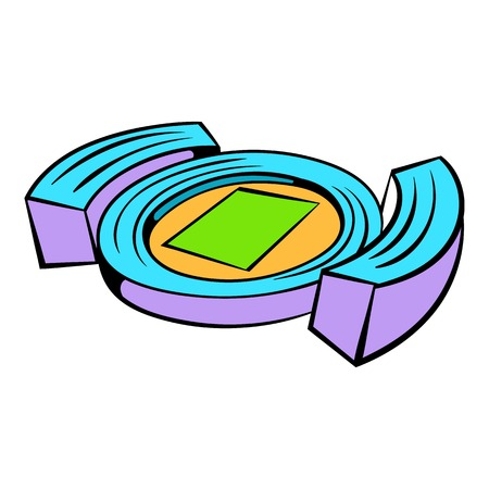 Football soccer stadium icon in icon in cartoon style isolated illustration