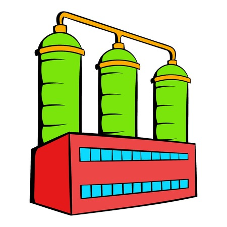 Oil refinery or chemical plant icon in icon in cartoon style isolated illustration