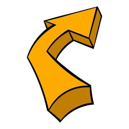 Broken yellow arrow icon in icon in cartoon style isolated illustration