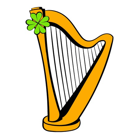 Golden harp and four-leaf clovericon in icon in cartoon style isolated illustration