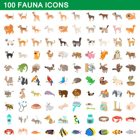 100 fauna icons set in cartoon style for any design illustration Standard-Bild - 107906345