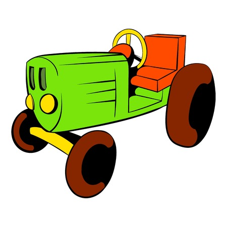 Tractor icon in cartoon style isolated illustration