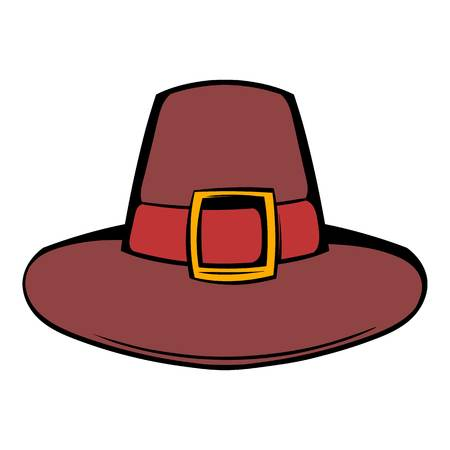 Pilgrim hat icon in cartoon style isolated illustration Stock fotó