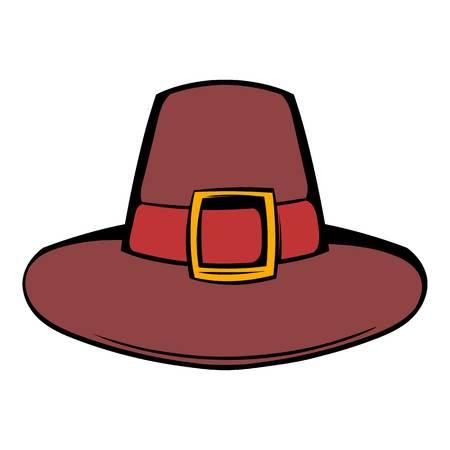 Pilgrim hat icon in cartoon style isolated illustration Stock Photo