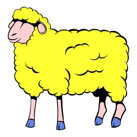 Sheep icon in cartoon style isolated illustration