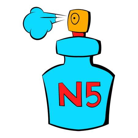 Bottle of Chanel No5 perfume icon in cartoon style isolated illustration Banco de Imagens