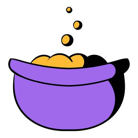 Witch cauldron with potion icon in cartoon style isolated illustration