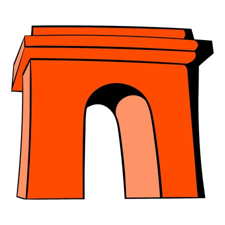 Triumphal arch, Paris icon in cartoon style isolated illustration Reklamní fotografie