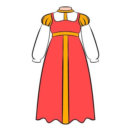 Russian national sarafan icon in cartoon style isolated illustration