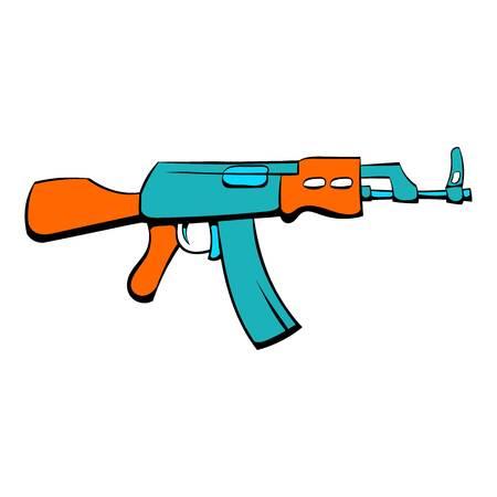Kalashnikov assault rifle icon in cartoon style isolated illustration