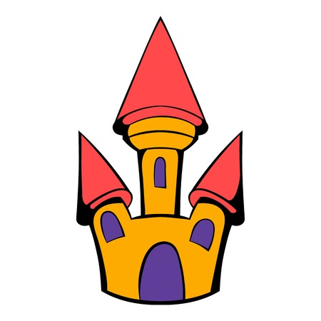 Castle icon in cartoon style isolated illustration