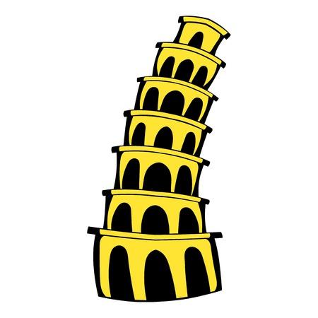 Pisa Tower icon in cartoon style isolated illustration Stock Photo