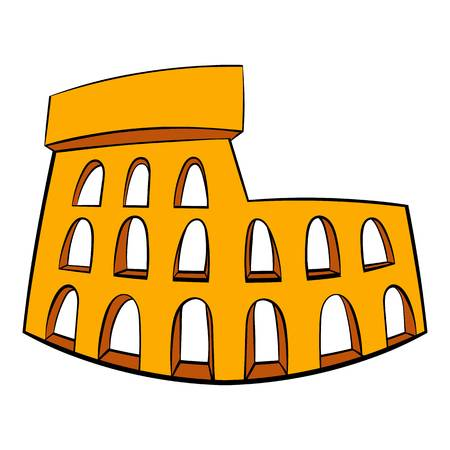 Roman Colosseum icon in cartoon style isolated illustration