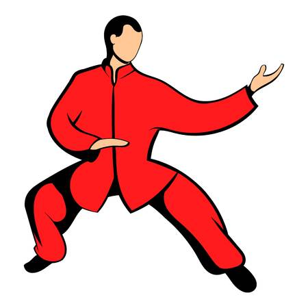 Wushu fighter icon in cartoon style isolated illustration Stock Photo