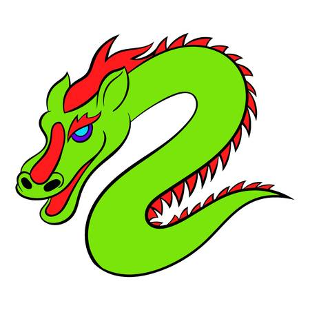 Green chinese dragon icon in cartoon style isolated illustration Stock Photo