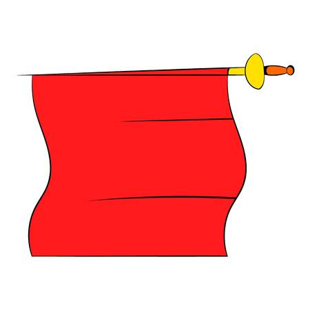 Red cape of bullfighter icon in cartoon style isolated illustration