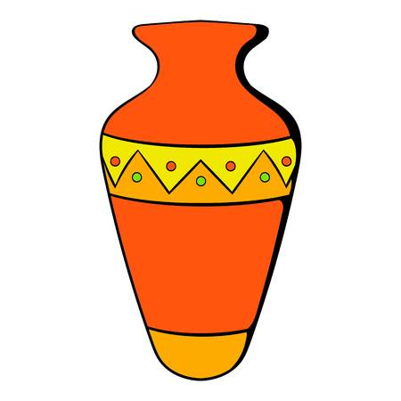 Egyptian vase icon in cartoon style isolated illustration Stock Photo