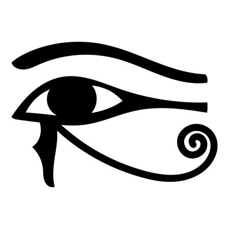Ikona oka Horusa w stylu kreskówka na białym tle ilustracji Zdjęcie Seryjne