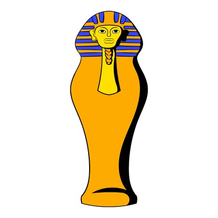 Egyptian pharaoh sarcophagus icon in cartoon style isolated illustration Stock Photo