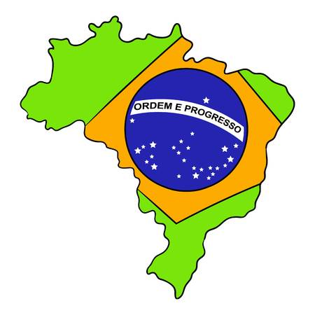 Brazil map and flag icon in cartoon style isolated illustration Stock Photo
