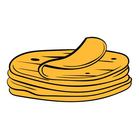 Stack of tortillas icon in cartoon style isolated illustration