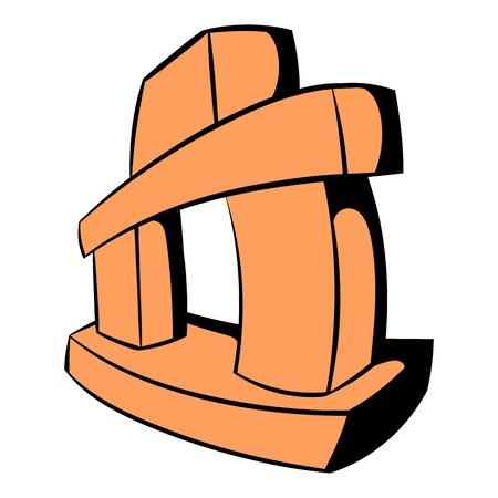 Inukshuk, Canada icon in cartoon style isolated illustration