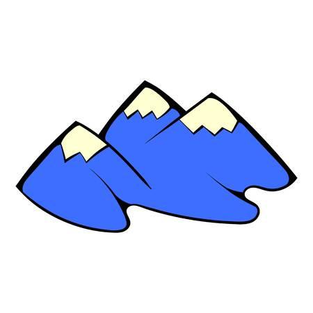 Mountain icon in cartoon style isolated illustration