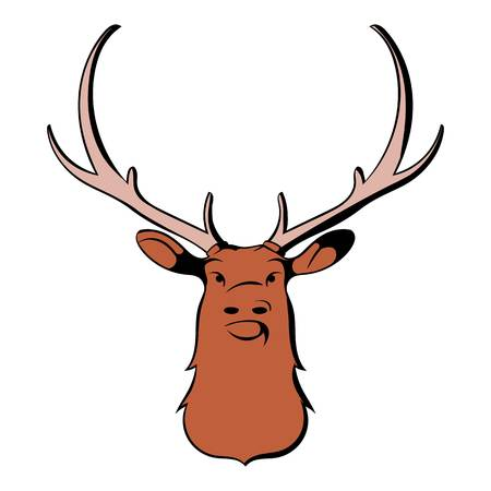 Head of deer icon in cartoon style isolated illustration