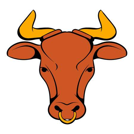 Head of Indian cow icon in cartoon style isolated illustration