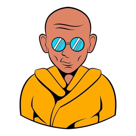Indian monk in saffron color clothing and sunglasses icon in cartoon style isolated illustration Stock Photo
