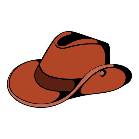 Cowboy hat icon in cartoon style isolated illustration