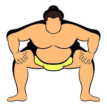 Sumo wrestler icon in cartoon style isolated illustration