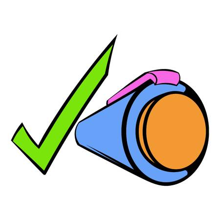 Pen and green checkmark icon in cartoon style isolated illustration