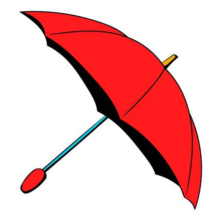 Red umbrella icon in cartoon style isolated illustration