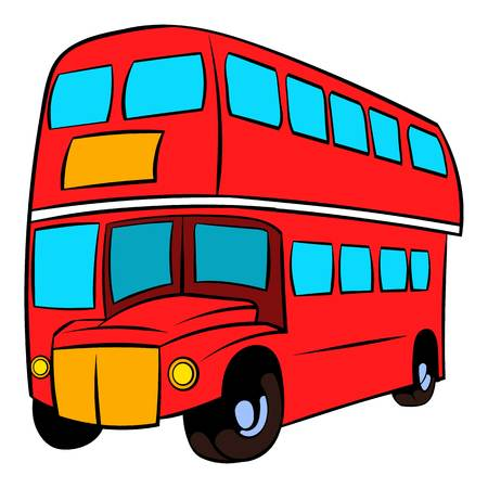 London double decker red bus icon in cartoon style isolated illustration Stock Photo