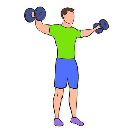 Man making standing dumbbell lateral raises icon in cartoon style isolated illustration Banque d'images - 107907309