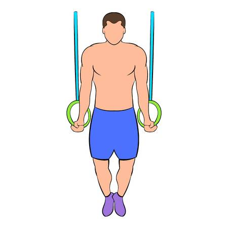 Man training on gymnastic rings icon in cartoon style isolated illustration