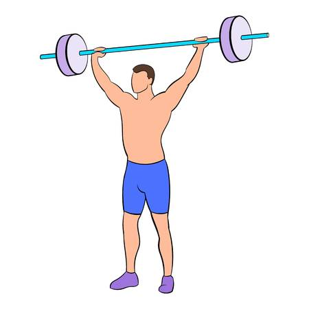 Man with barbell icon in cartoon style isolated illustration Stock Photo