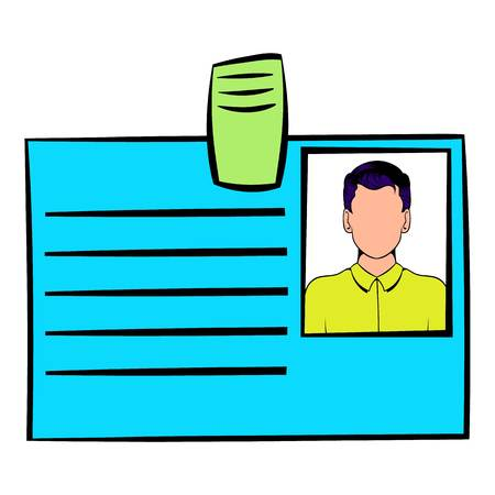 Identification card icon in cartoon style isolated illustration Imagens