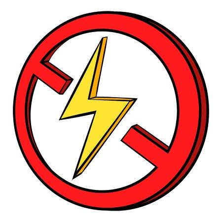 No lightning icon in cartoon style isolated illustration