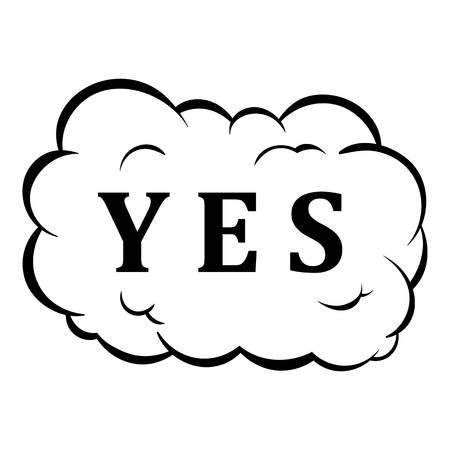Yes in cloud icon in cartoon style isolated illustration