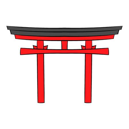 Japan gate icon in cartoon style isolated illustration