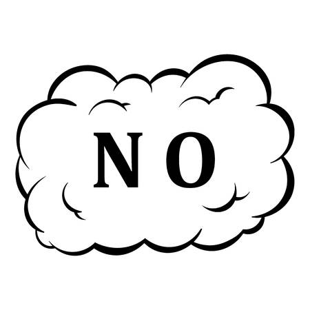 No in cloud icon in cartoon style isolated illustration