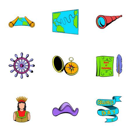 Cruise travel icons set. Cartoon illustration of 9 cruise travel icons for web