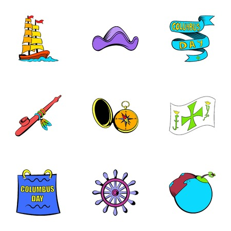 Ocean travel icons set, cartoon style