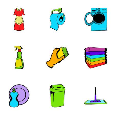 Cleaner icons set, cartoon style Stok Fotoğraf - 107915006